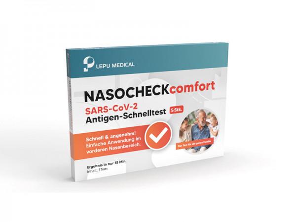 NASOCHECKcomfort SARS-CoV-2 Antigen Schnelltest zur Eigenanwendung - 5er Box