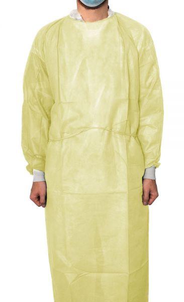 Schutzkittel aus Polypropylen-Vliesstoff mit Sicherheitslaminierung (35 g/m²) (gelb/blau)