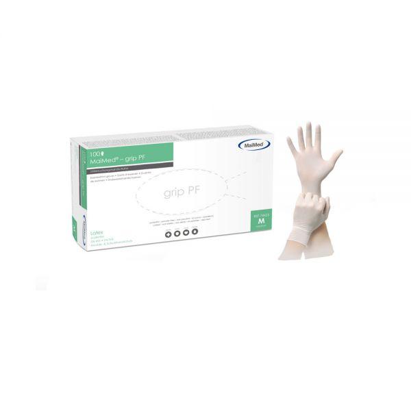 Hochwertiger Latexhandschuh mit Polymerinnenbeschichtung - Grip PF